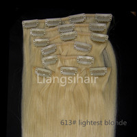 "Wholesale 613 Lightest Blonde - 18""-26"" 80g 100g 120g 613# lightest blonde 8pcs Clip in human Hair Extensions Factory wholesale Brazilian virgin Human Hair Bundles"