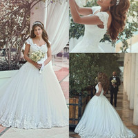 Wholesale beaded sweetheart corset wedding dresses for sale - Group buy New Vintage Tulle Lace Appliques Wedding Dresses Sweetheart Beaded Sweep Train Corset Back Cap Sleeves Bridal Gowns