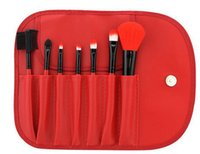 Wholesale 7Pcs Set Of Hot Colorful Professional Soft Cosmetic Make up Brush Set Blush Makeup Brushes Pouch Bag Case Make up Tools