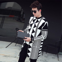 Trendy Fashion Men Cardigan Maglia a manica lunga Autunno Winter Coat Slim Fit Casual Spessore Top Tribal Geometric Pattern Open Front
