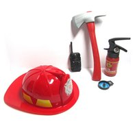 Wholesale Plastic Fireman - 2016 New Kids Firefighter Toys Simulation Fire Rescue Toy Set Fireman Helmet Fire Extinguisher Boys Toy