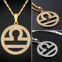 Wholesale libra chain - U7 New Zodiac Charms LIBRA Pendant Necklace Simple Women Men Jewelry Gift Rhinestone Gold Platinum Plated Necklace Perfect Gifts P2509
