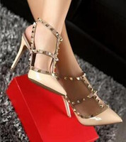 Wholesale Studded Sandals Fashion Pointed - Fashion Pointed Toe High Heels Patent Leather Rivets Sandals Women Studded Strappy Dress Shoes valentine high Heel