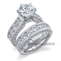 Wholesale Retro Topaz - Retro Jewelry Lovers Claw Set 8mm Topaz Gem 14KT White Gold Filled 2-in-1womens Engagement Wedding Ring Set for christmas gift Sz 5-11