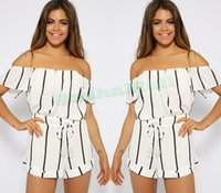 Wholesale Cheap Playsuits - 2015 Cheap Clothes Women Chiffon Jumpsuit Short Sleeve Sexy Hot Playsuits And Bodysuits Strapless Striped Macacao Feminino 12