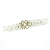 Wholesale Flower Belt Buckles - Elegant Beading Style Waistbands Elastic Stretch Pearls Flower Buckles Waist Belts Ladies Decorative Ceintures os840