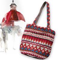 Wholesale Wholesale Ethnic Hobo Bags - Wholesale-Hippie Trendy tote Ethnic Geometric Cotton HOBO bag Multicolor Stripes Shopping Handbag