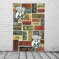 Wholesale Car Wall Plaque - U.S. Route 66 Car License Plates Vintage Tin Sign Bar Pub Home Wall Decor Retro Metal Painting Plaque