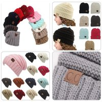 Wholesale Crochet Baby Sweaters - hot 12 color children baby boy girl young child CC bean hat children winter warm thick sweater CC hat