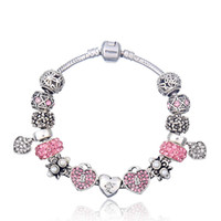 "Wholesale Chinese Pink Bracelet - Elegant Charm Bracelets with Asian Love Symbol Chinese Character ""Love"" Silver Charms & Brilliant Pink Cubic Zirconia & Heart Dangles BL113"
