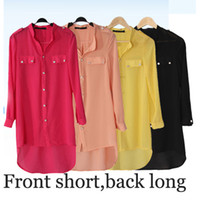 Wholesale Women Chiffon Blouse Big Sizes - Plus size Women Shirts Blusas femininas Camisas kimono cardigan big Size XXXL Long Sleeve Blouses Fishtail Chiffon Shirt Blouses roupas