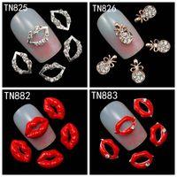 rhinestones rojos uñas arte al por mayor-Venta al por mayor- 10Pcs / Pack Rhinestones Nails Studs (Labios plateados, Labios rojos, colgante Necklave) 3D Nail Art Decorations Glitters Uñas