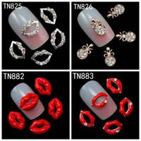 Wholesale 3d Nails Art Lip - Wholesale- 10Pcs Pack Rhinestones Nails Studs (Silver Lips,Red Lips,Necklave Pendant) 3D Nail Art Decorations Glitters Nail Tools