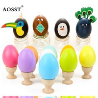 Wholesale Egg House - Wholesale- Wooden Easter Simulated Egg with Stand Painted Graffiti DIY Wooden Egg Kids play house Play Toy Gifts