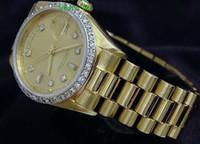 gelbe uhren männer großhandel-Luxus Mode UHREN Top Qualität 18 Karat Gelbgold Diamant Zifferblatt Lünette 18038 Uhr Automatische Herrenuhr Armbanduhr