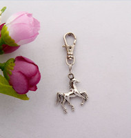 Wholesale Keychain Horse - 2015 Hot 50pcs Vintage Silver Cute Horse Charm Lobster Button Keychain Gifts Fit DIY Key Chains Accessories Fashion Jewelry F525