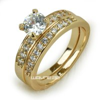 Wholesale womens gold wedding bands resale online - 18k gold Fileed womens Engagement wedding ring set lab diamonds R280 size