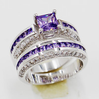 Rempli D'or Pas Cher-Taille d'expédition gratuite 5/6/8/8/9/10 Luxe Princesse Cut Jewerly 10ktwhite en or rempli Amethyst Gem Simulated Diamond Women Ring Ring Set