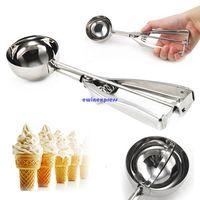 Wholesale Steel Ice Cream Scoop - Top quality Stainless Steel 6cm Scoop for Ice Cream Mash Potato Food Spoon Kitchen Ball New
