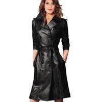 çift deri trençkot toptan satış-Toptan-2015 kadın kış ceket Kadınlar Deri Ceket Uzun Trençkot Kruvaze Tunik Casual Coat Kadınlar Deri Ceket Ceket