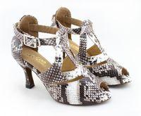 Wholesale Tango Dance Shoes High Heel - New Fashion Fashion Serpentine pattern PU women's Latin dance shoes Ballroom dancing shoes Salsa Tango Square dance shoes