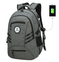 laptop bag mulheres 17 polegadas venda por atacado-Aptop Mochila com Porta de Carregamento USB Mochila de Viagem de Poliéster Resistente À Água para Mulheres Dos Homens Se Encaixa Sob Laptop de 17 polegadas e Não