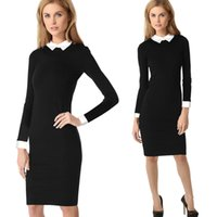 Wholesale Doll Dress Elegant - Free shippingWomens Vintage Tunic Pencil Dresses Stretch Bodycon Doll Collar OL Career Cocktail Party Elegant, fashion 3038