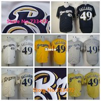 Wholesale Cheapest Branded Shirts - 30 Teams- Cheapest Milwaukee Brewers Jersey 49 Yovani Gallardo Authentic Baseball Jersey Stitched Brand Shirt White Yellow Cream Gray Blue