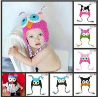 Wholesale Ear Protector Hats Scarfs - Min order $10--New Spring Winter Parrot Owl Handmade Baby Warm Hat Knitted Ear Protector Boy Cotton Caps For Winter Baby 5HB36