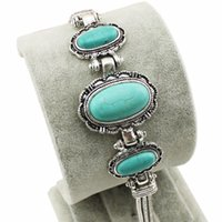 Wholesale Wholesale Craft Cuff Bracelets - Wholesale-Retro Craft Tibet Alloy Silver Plated Flower Bead Oval Turquoise Cuff Bracelet Bangle B023