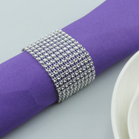Wholesale bamboo napkin rings resale online - Plastic Rhinestone Wrap Napkin Ring Silver Color Napkin Buckle Hotel Wedding Supplies European Style Home Decoration wn264