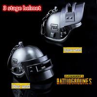 Wholesale Helmet Keyring - Game Playerunknowns Battlegrounds 3D Keychain Special-Forces Level 3 Helmet PUBG zinc alloy Keyring Jewelry Pendant Fans Gift