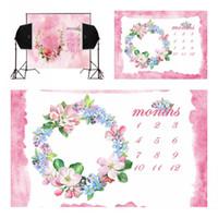 câmera rosa venda por atacado-Rosa parede de tinta rosa flores calendário para recém-nascidos fotografia backdrops camera fotografica bebê foto fundo estúdio digital vinil adereços