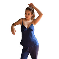 Wholesale womens satin silk pajamas - Wholesale- womens sleeveless spaghetti strap summer full length trousers pajamas set silk satin big size ladies sleepwear set home wear