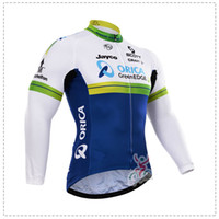 Wholesale Orica Winter - orica greenedge Autumn or winter fleece 2015 team Cycling Jerseys Bike Bicycle Long Sleeves Mountaion MTB cycling Jersey Clothing Shirts