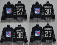 Wholesale Ranger Patches - 1917-2017 100th Anniversary New York Rangers Jersey #36 Mats Zuccarello #30 Henrik Lundqvist #27 Ryan McDonagh Black Stitched With Patch