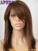 Wholesale Glueless Bang - Virgin Brazilian Hair Glueless Silk Top Full Lace Wigs With Side Bangs 130%Density Brown Human Hair Lace Front Wigs