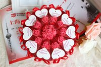 Wholesale Cupcake Shaped Favors - 2015 Cake Shape Paper Candy Boxes with Flower Bowknot Ribbon for Romantic Wedding Favors Party Gift Boxes Holders Free Shipping