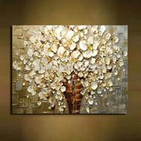 abstrakte blumen-ölgemälde großhandel-100% handbemalte weiße Blumen moderne abstrakte Messer Ölgemälde auf Leinwand Wand Kunst Bilder für Wohnzimmer Dekoration