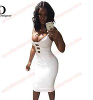 Wholesale White Club Dresses For Women - Summer Sexy Club Dress 2016 Solid Color Bandage Bodycon O-Neck Hollow Out Sleeveless Knee-Length White Dress for Women