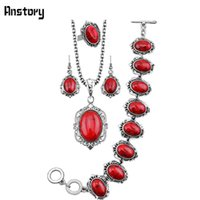 Oval Flower Stone Jewelry Sets Collar Pulsera Pendientes Anillo Para Las Mujeres Retro Look Antique Silver Plated Gift