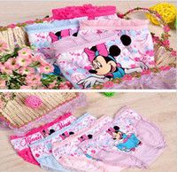 Wholesale Underwear Baby Cartoon - cute kids underwear for girls 100% cartoon children baby underwear shorts kids briefs Minnie Mouse panties kids underwear for 2-10ages girls