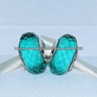 Wholesale Silver Thread Bracelet - 5pcs 925 Sterling Silver Thread Teal Fascinating Faceted Murano Glass Beads Fit European Style Pandora Charm Jewelry Bracelets & Necklaces