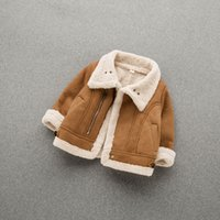 Wholesale wool clothes for babies for sale - Group buy Fashion Winter Coats Jackets for Baby Girl Boy Warm Turn Down Collar Baby Clothes Suede Fabric Lamb Wool Baby Coat