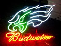 "Wholesale Neon Sign Eagles - BUDWEISER PHILADELPHIA EAGLES Neon Sign handicraft Real Glass Tube store display beer bar pub light 17x14"""