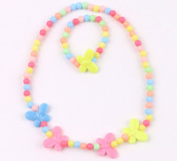 Wholesale Bowtie Necklaces - NEW Kids Children Jelly color bowtie pearl Cartoon Charms Necklace performance Charms necklace Jewelry Set HH54