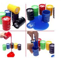 Wholesale Wholesale Plastic Drums - PrettyBaby April fools day toys oil drum paint bucket gag toys practical jokes oil drums trick colorful paint barrel slime play joke toys