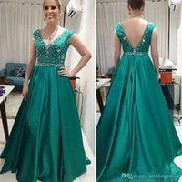 Wholesale Teal Mother Bride - Latest Teal Green Long Mother Of The Bride Dresses Fashion V Neck Wedding Guest Dresses Beaded Satin A Line Formal Evening Dresses Gowns