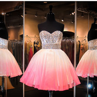 Wholesale Ombre Homecoming - Ombre Pink Homecoming Dresses For Graduation Sparkly Crystal Boning Corset Empire Ball Gown Short Prom Dresses 2016