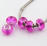 perlas facetadas de 14mm al por mayor-MIC 100 unids Rose Faceted Crystal Glass Large Hole Beads Fit Charms pulseras 14 mm
